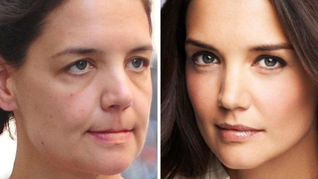 Кэти Холмс. Актриса и бывшая супруга Тома Круза без косметики выглядит немного старше своих лет.