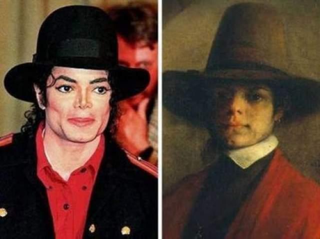 Майкл Джексон и мужчина с портрета