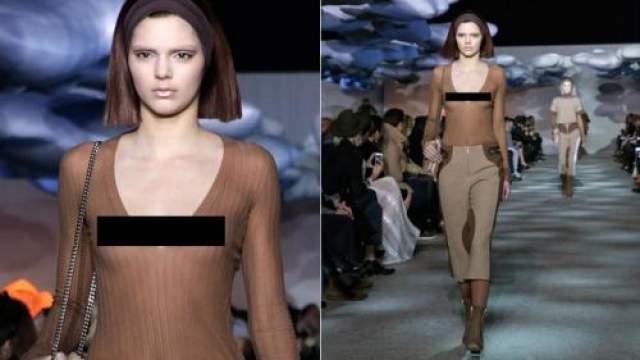 Кендалл Дженнер Единственным своим недостатком сестра знаменитой Ким Кардашьян считала не слишком большой бюст. Впрочем, Кендалл этого ничуть не стеснялась, даже наоборот, что и демонстрировала во время Нью-Йоркской Недели моды.