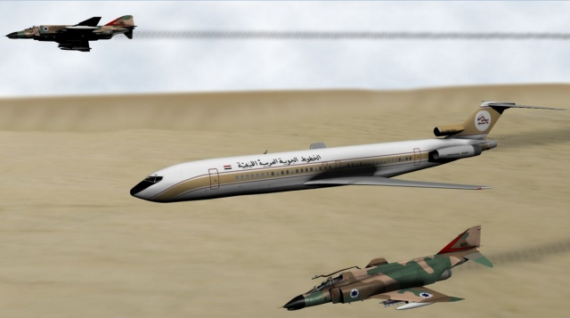 Лайнер попал на радары израильских ВВС. Моментально в воздух были подняты два истребителя. Израильские летчики решили, что Боинг не является пассажирским: они приняли флаг Ливии за флаг Египта, с которым у Израиля были натянутые отношения. Лайнеру было предложено проследовать за истребителями на израильскую авиабазу.