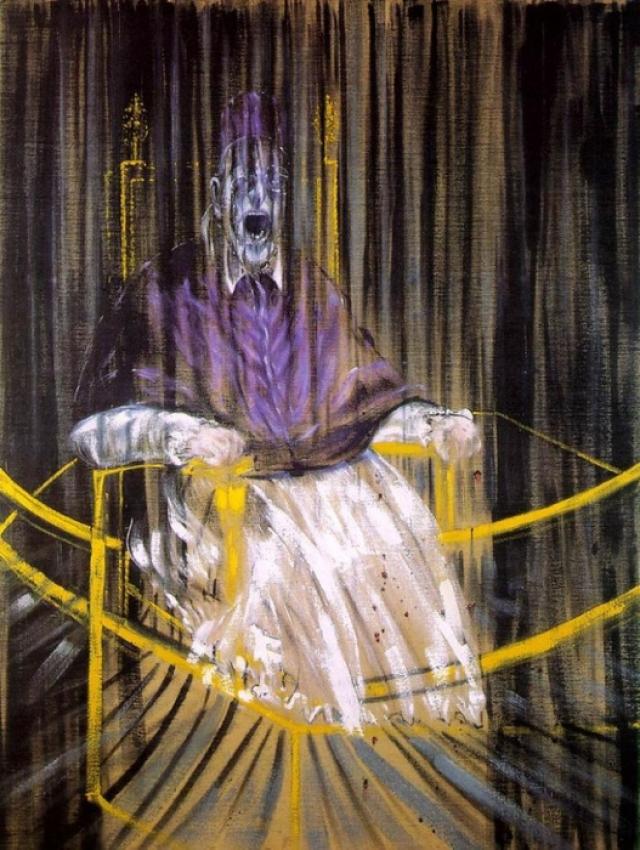 «Исследование портрета Иннокентия Х Веласкеса» В основе этого устрашающего образа одного из самых влиятельных художников ХХ века Фрэнсиса Бэкона — парафраз известного портрета Папы Иннокентия X, написанного Диего Веласкесом. Забрызганный кровью, с мучительно искаженным лицом Папа изображен сидящим в металлической трубчатой конструкции, которая при ближайшем рассмотрении является троном.