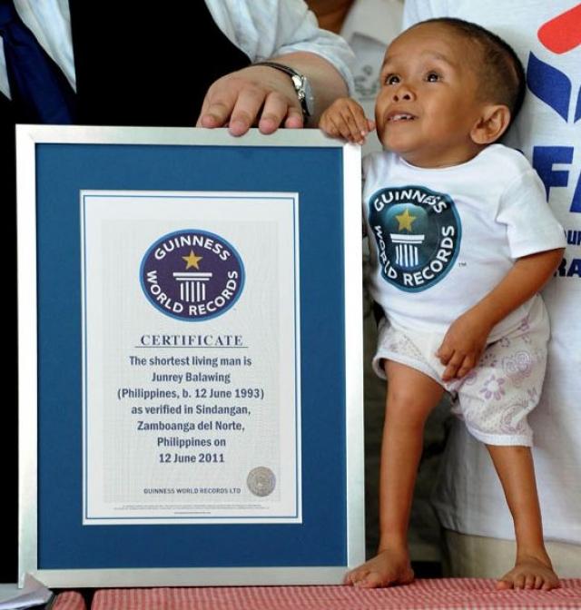 Самый маленький человек в мире на сегодняшний день - 18-летний житель Филиппин Джунри Балавинг – его рост составляет 59,93 см.