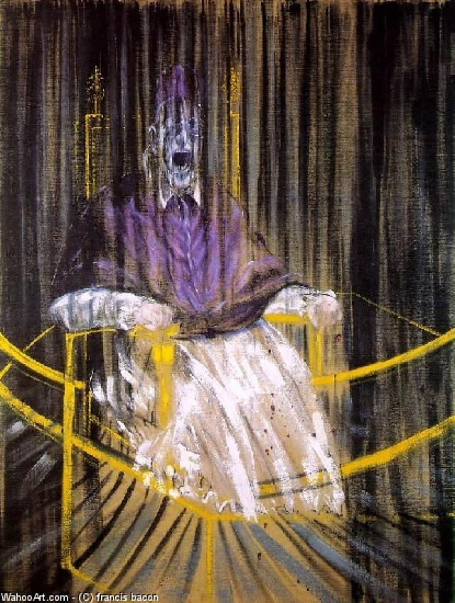 Исследование портрета Иннокентия X Веласкеса, Фрэнсис Бэкон. Одна из самых пугающих картин, в основе которой парафраз известного портрета Папы Иннокентия X, написанного Диего Веласкесом.