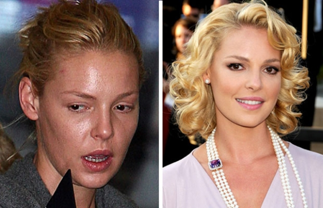 Кетрин Хейгл. Конечно же без макияжа актриса лишена всякого гламура.