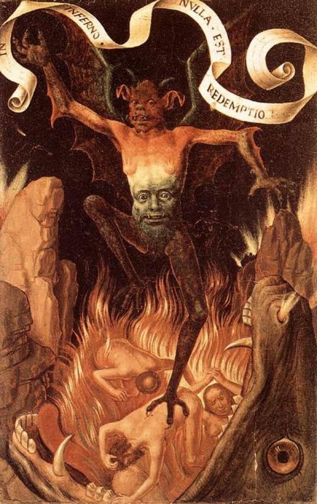 """«Ад» Картина «Ад» немецкого художника Ганса Мемлинга, написанная в1485 году, является одной из самых страшных художественных творений своего времени. Она должна была подтолкнуть людей к добродетели. Мемлинг усилил ужасающий эффект сцены, добавив подпись: """"В аду искупления нет """"."""