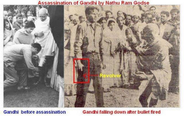 Воспользовавшись возникшей суматохой, Натхурам Годзе в числе прочих поклоняющихся приблизился к Ганди и выпустил в него три пули от которых Ганди скончался.