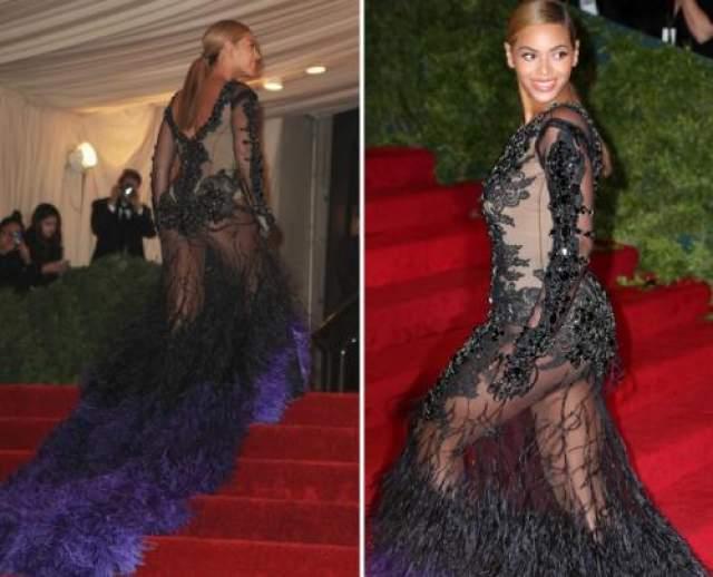 В то время как Бейонсе решила брать пример с Ким Кардашьян, выбрав платье в стиле бурлеска.