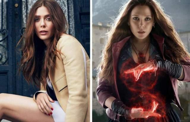 """Элизабет Олсен - Алая ведьма Алая Ведьма появляется в нескольких фильмах из вселенной Marvel. Героиня Элизабет была в лентах """"Мстители: Эра Альтрона"""" и """"Первый мститель: противостояние""""."""
