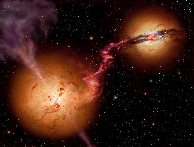Две сверхмассивные черные дыры, движущиеся к необратимому столкновению.