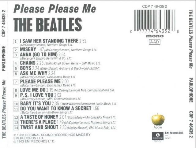 """Альбом """"Please Please Me"""" стал единственным, в котором авторство песен обозначалось, как """"McCartney/Lennon"""". На всех последующих значилось: """"Lennon/Mccartney""""."""