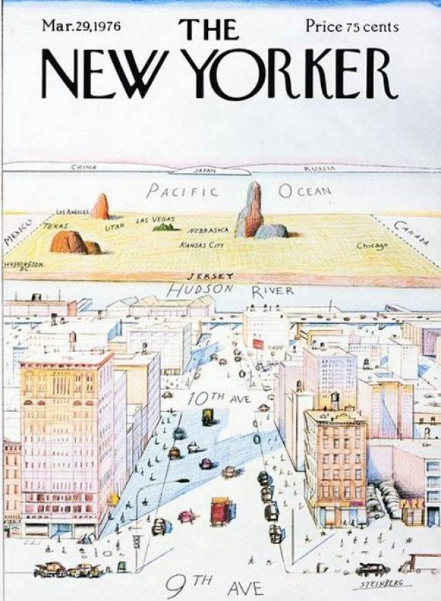 """The New Yorker, март 1976. Иллюстрация Саула Штейнберга изображает Манхэттен и называется """"Взгляд на мир с Девятой авеню"""". Впрочем, рисунок и сейчас довольно точно отображает американскую геополитику и взгляды многих обычных американцев."""