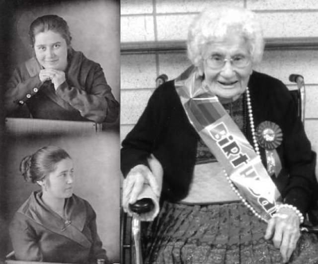 Бесси Купер, 26 августа 1896 - 4 декабря 2012, прожила 116 лет, 100 дней. Когда ее спросили, в чем секрет ее долгой жизни, она сказала, что не сует нос в чужие дела, ну и не ест вредную пищу.