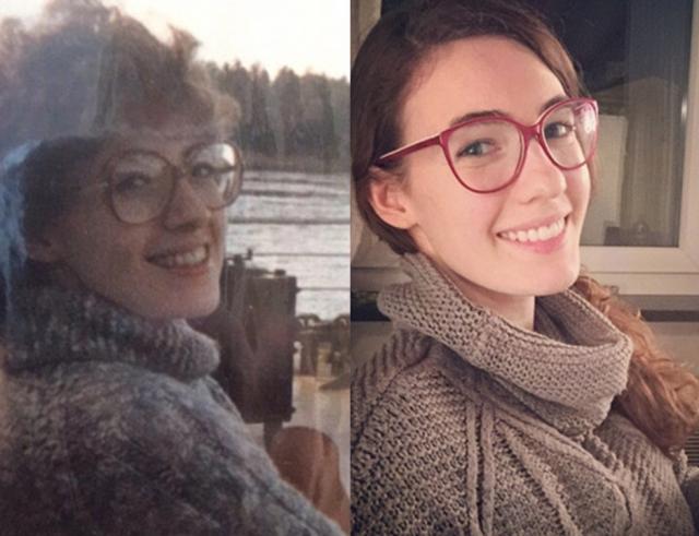 Именно этот снимок стал хитом в сети, набрав 3,5 миллиона просмотров. Мать и дочь запечатлены в 25-летнем возрасте и выглядят практически идентично, за исключением лишь разных причесок, очков и одежды.