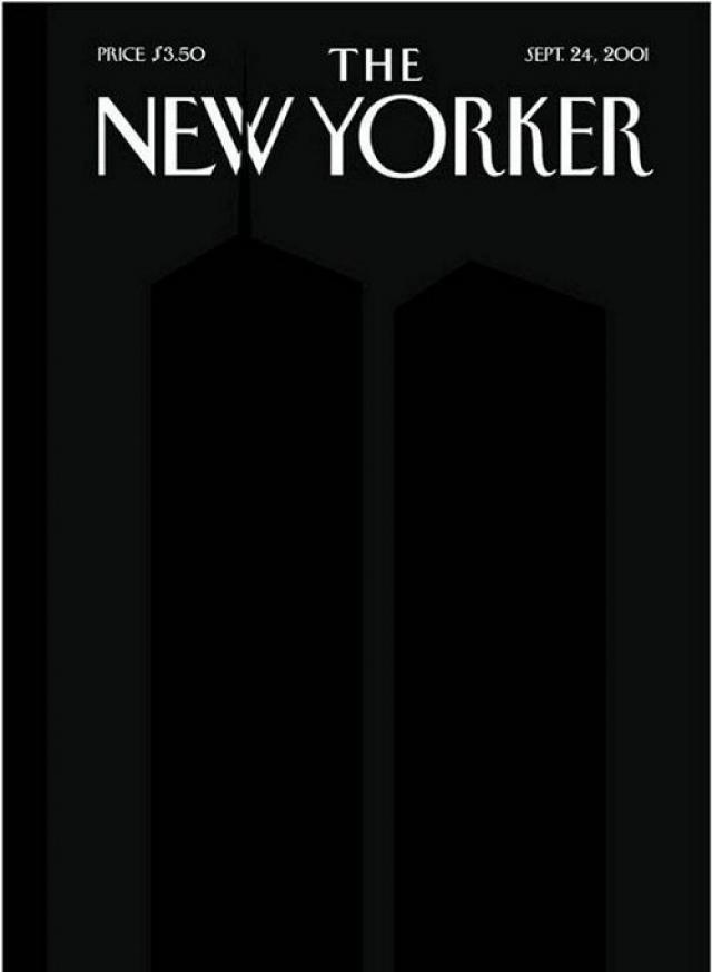 The New Yorker, сентябрь 2001. Едва заметные на черном фоне черные силуэты башен Всемирного Торгового Центра олицетворяют трагедию 11 сентября. Антенна северной башни делит букву W в названии журнала надвое, символизируя раскол мира.