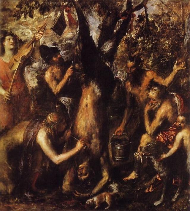 Свежевание Марсия, Тициан. Картина изображает сцену из греческой мифологии, где с сатира Марсия сдирают кожу за то, что он бросил вызов богу Аполлону.