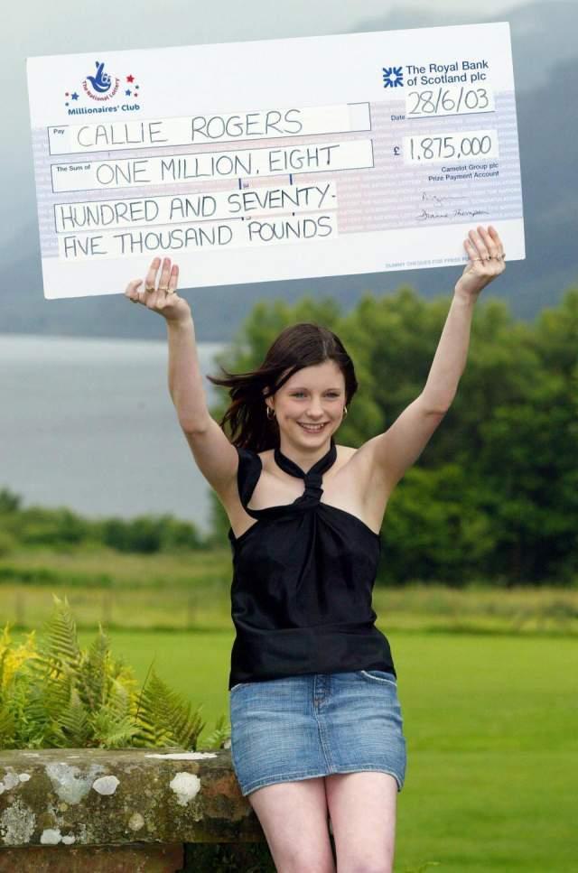 Келли Роджерс, 1,9 млн фунтов стерлингов, Великобритания, 2003 год. Эта девушка была самым счастливым подростком на планете, когда стала, еще будучи 16-летней школьницей, работающей кассиршей за 3,6 фунта в час, настоящей миллионершей.