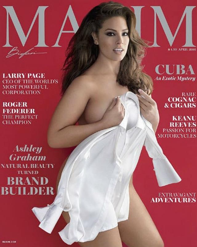 А вот Эшли Грэм стала первой моделью plus-size , появившейся на обложке американской версии журнала Maxim в 2016.