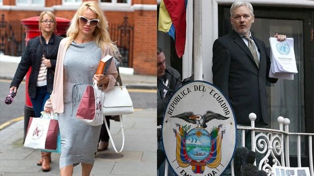 Ассанж проживает в посольстве Эквадора в Лондоне, куда в последнее время зачастила и Андерсон в сексуальных нарядах и с гостинцами.