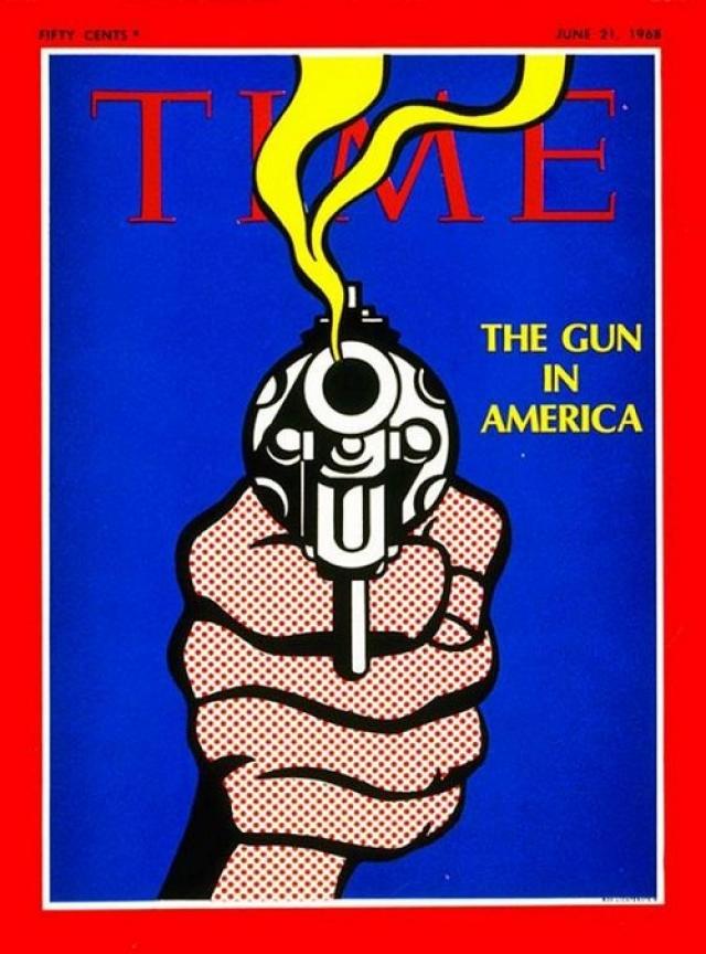 """TIME, июнь 1968. Номер, названный """"Оружие в Америке"""", вышел в скором времени после убийств Мартина Лютера Кинга и Роберта Кеннеди и призывал к введению ограничений на продажу и хранение оружия."""