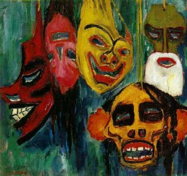 Натюрморт из масок, Эмиль Нольде. Идея для создания этой картины появилась у автора после того, как он посетил Берлинский музей и изучил маски, выставленные там.