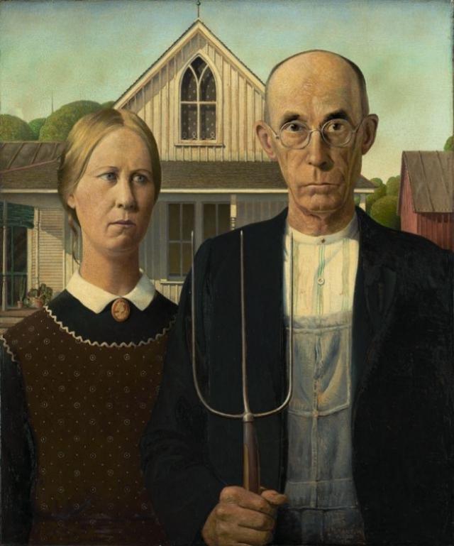 """""""Американская готика"""", Грант Вуд. Картина с мрачными образами отца и дочери переполнена угнетающими деталями."""