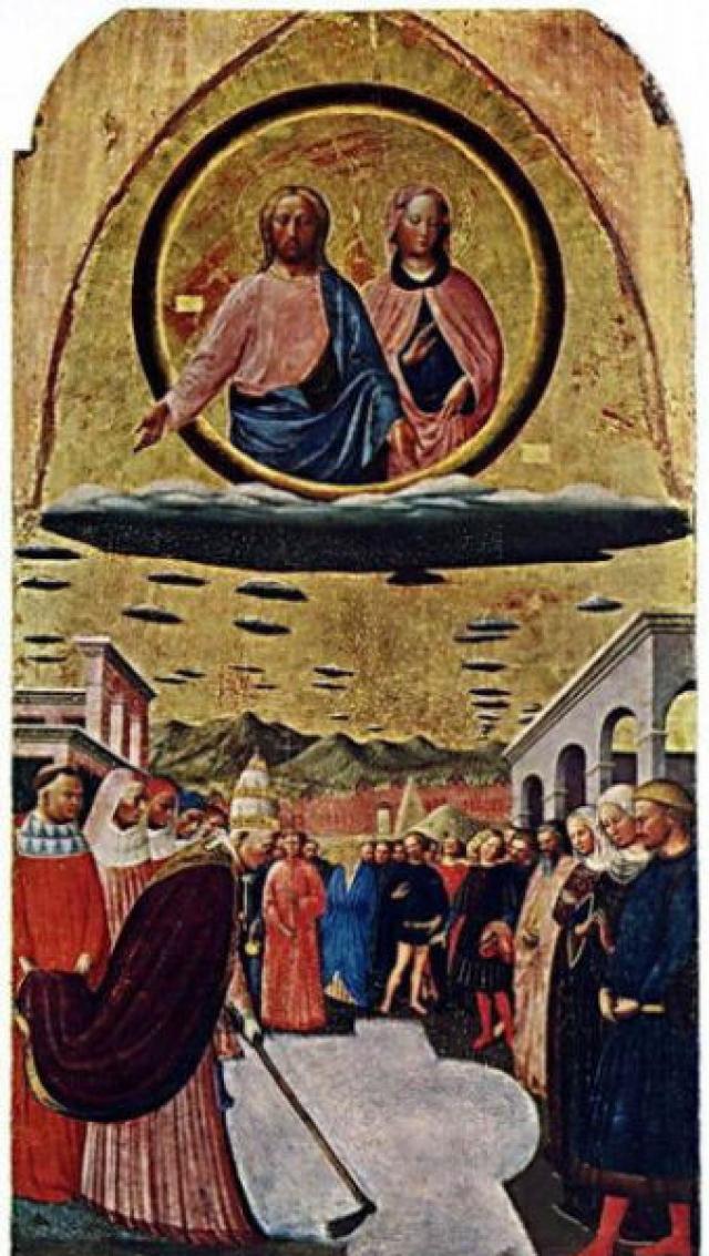 На фреске The Miracle of the Snow святые сами появляются летящими на необычном диске.