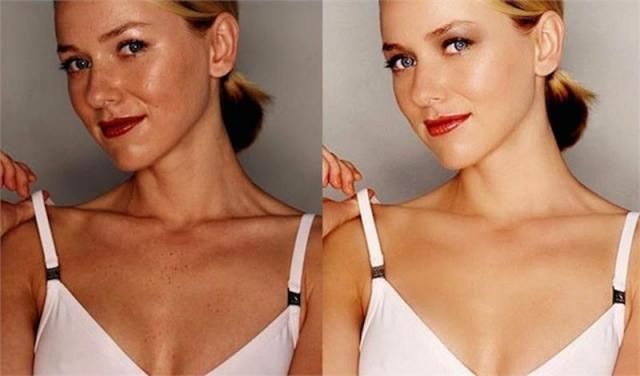 Наоми Уоттс. Более яркие глаза и волосы, сияющая кожа и отсутствие пигментных пятен - такой сделали актрису дизайнеры.