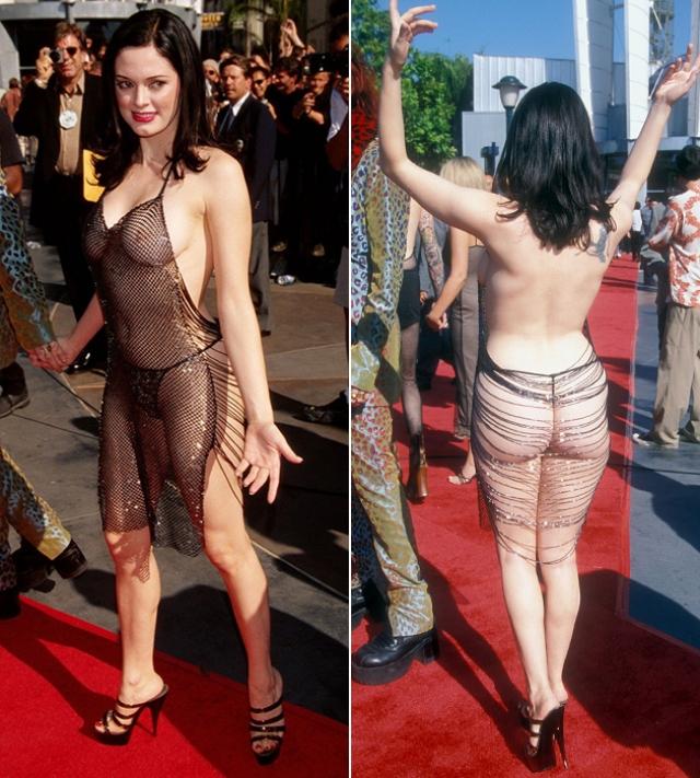 """Роуз МакГоуэн. Актриса стала одной из первых, представших в """"голых"""" платьях еще в 90-е."""