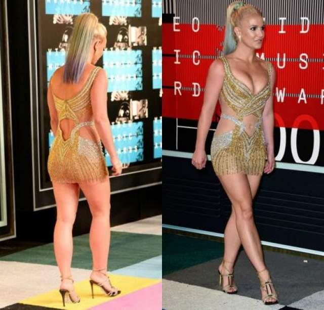 Вот в таком коротком, броском и, судя по снимкам, чрезвычайно тесном платье певица появилась в 2015 году на церемонии MTV Video Music Awards.