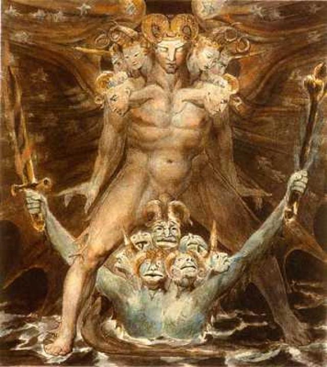 «Великий красный дракон и морское чудовище» Известный английский поэт и художник 18-го века Уильям Блейк в момент озарения создал серию акварельных картин, изображающих великого красного дракона из Книги Откровений. Красный Дракон являлся воплощением дьявола.