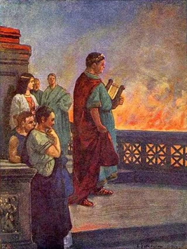 Нерон велел своим слугам поджечь Рим только для того, чтобы с высокого моста полюбоваться необычной красотой пылающего города: Рим горел - а воодушевленный этим зрелищем император стоял и сочинял стихи..
