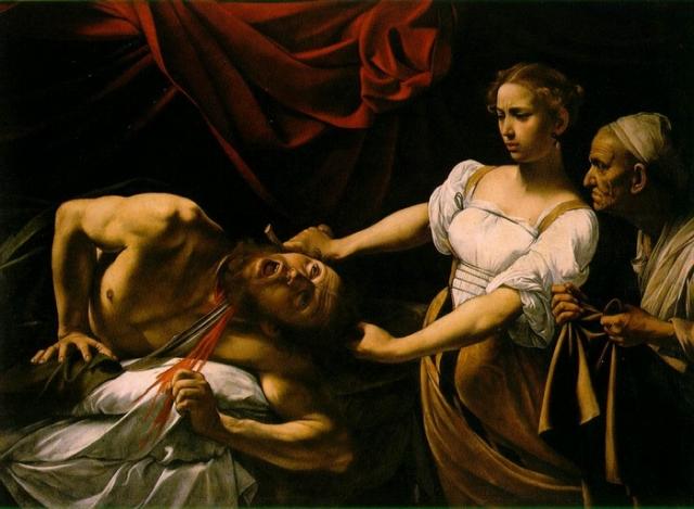 «Юдифь, убивающая Олоферна» Казнь Олоферна изображали такие великие художники, как Донателло, Сандро Боттичелли, Джорджоне, Джентилески, Лукас Кранах старший и многие другие. На картине Караваджо, написанной в 1599 году, изображён самый драматичный момент этой истории - обезглавливание.