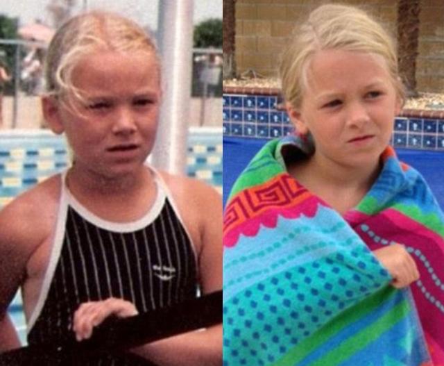 Мать (слева) в 1984 и дочь в 2014 у бассейна.