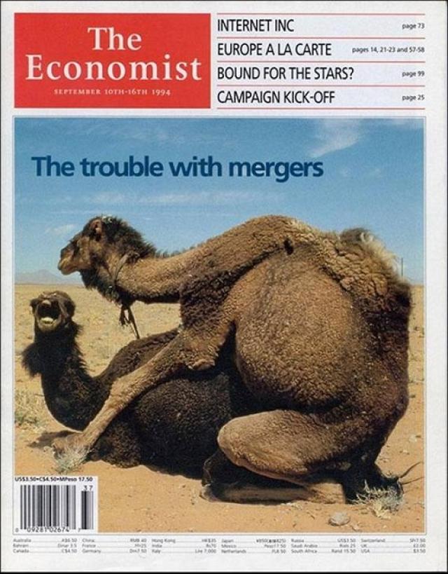 The Economist, сентябрь 1994. Обложка британского The Economist, выпущенная специально для американского рынка, породила множество споров. Номер был посвящен не спариванию верблюдов, а бесконечным финансовым слияниям и поглощениям.