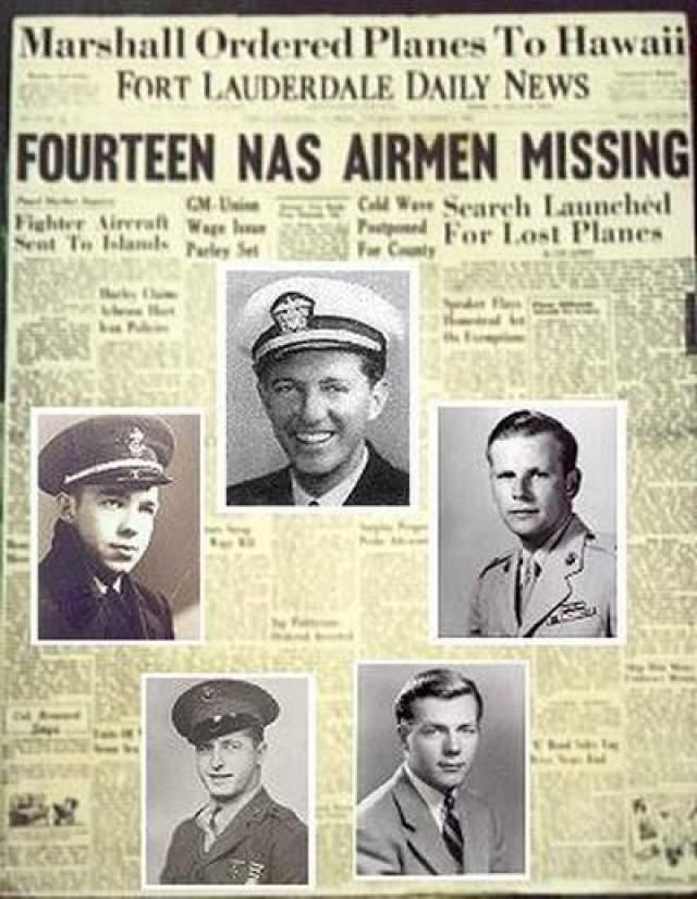 """Тем не менее командир звена лейтенант Чарльз Тейлор сообщил, что не в состоянии определить, где запад, а океан выглядит необычно. Дальнейшие переговоры ни к чему не привели, только в 17:50 на авиабазе смогли засечь слабый сигнал самолетов звена. Они находились к востоку от Нью-Смирна-Бич, штат Флорида, и удались от материка. На фото: сообщение об исчезнувшей эскадрилье """"Рейс номер 19"""""""