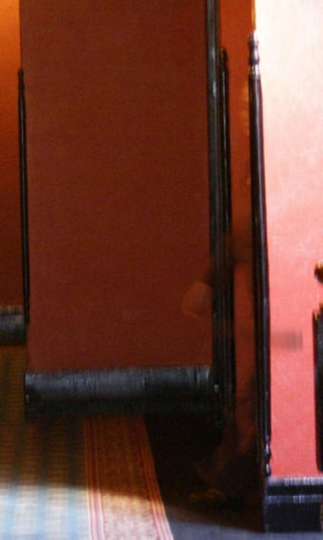 Этот снимок был сделан в известном своей паранормальной активностью отеле Crescent в Эврика-Спрингс, США. Эксперты затрудняются с объяснением природы призрачной фигуры на фото.