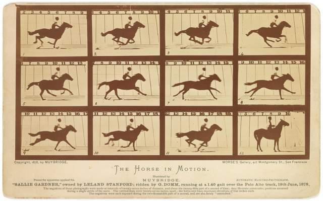 Лошадь в движении, Эдвард Мейбридж, 1878. Тогда между губернатором Лилендом Стенфордом и его оппонентами Джеймсом Кейном и Фредериком Маккреллишем возник спор: Стенфорд утверждал, что конь, бегущий галопом, во время бега отрывает все ноги от земли, а те настаивали на том, что хотя бы одна нога коня при беге никогда не отрывается от земли. Для разрешения спора Стэнфорд устроил эксперимент с участием сразу нескольких камер - и вот результат.