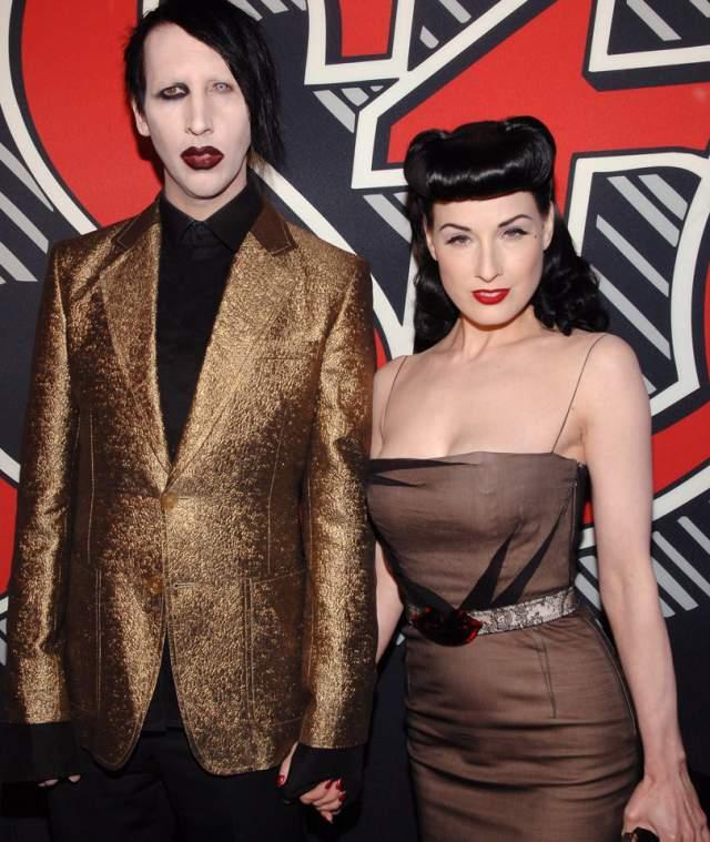 Мэрилин Мэнсон и Дита фон Тиз. Музыкант и бурлеск-дива поженились в 2005 году после довольно продолжительных отношений. Готическая свадьба, похожая на сказку привела к вполне среднестатистическим проблемам в браке.