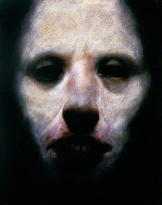 «Gallowgate Lard» Эта картина ни что иное, как автопортрет шотландского автора Кена Карри, который специализируется на мрачных, социально-реалистических картинах. Любимая тема Карри - мрачная городская жизнь шотландского рабочего класса.
