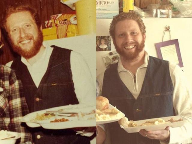 Отец (слева) в 1978 и сын в 2013.
