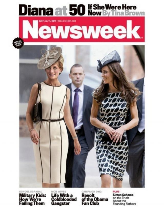 Newsweek, 2011. Жаркие споры разгорелись вокруг обложки, на которую было помещено компьютерное изображение принцессы Дианы, идущей рядом с Кейт Миддлтон.