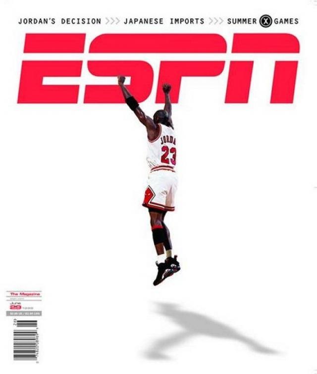 ESPN, июнь 1998. Летящий Майкл Джордан на белом фоне появился на обложке спортивного журнала после завоевания шестого титула Чемпиона NBA.