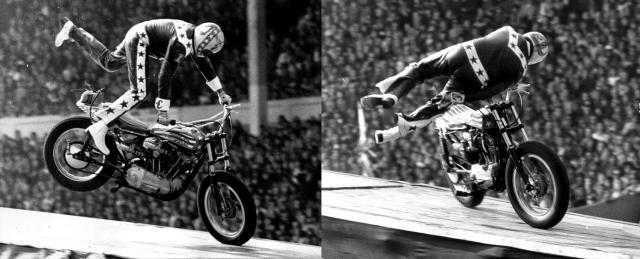 Второй трюк - печально известный прыжок через каньон реки Снейк, который прошел неудачно из-за дефекта парашюта. В 1975 году Книвел совершил прыжок на мотоцикле через 13 двухэтажных автобусов в Лондоне, однако получил травмы из-за неудачного приземления.