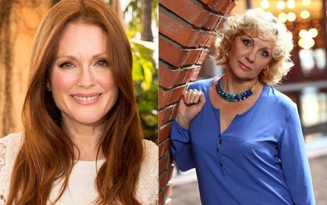 Джулианна Мур и Елена Яковлева (56 лет). Эти актрисы, напротив, предпочитают не спорить с возрастом, но голливудская коллега в этой позиции смотрится явно выигрышнее.