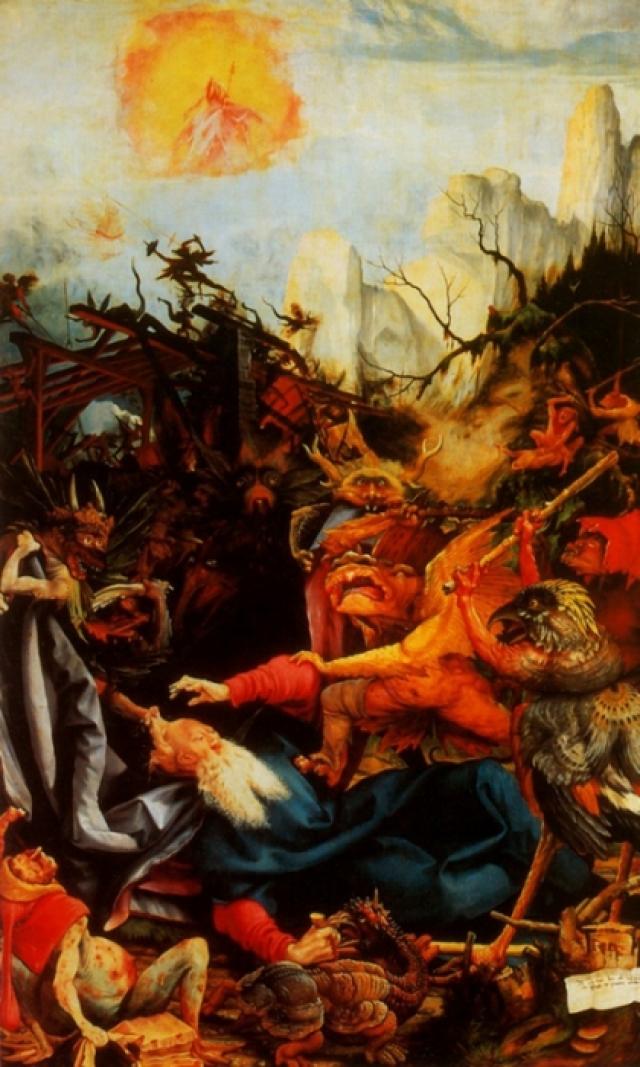 «Искушение Святого Антония» Матиас Грюневальдизображал религиозные сюжеты Средних веков, хотя сам жил во времена Возрождения. Говорили, что святой Антоний столкнулся с испытаниями своей веры во время молитвы в пустыне. Согласно легенде его убили демоны в пещере, затем он воскрес и уничтожил их. Эта картина изображает Святого Антония, подвергнувшегося атаке демонов.