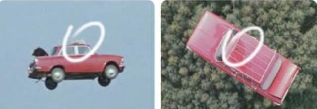 Летающий автомобиль. Вещи с багажника на крыше исчезают при виде из вертолета.
