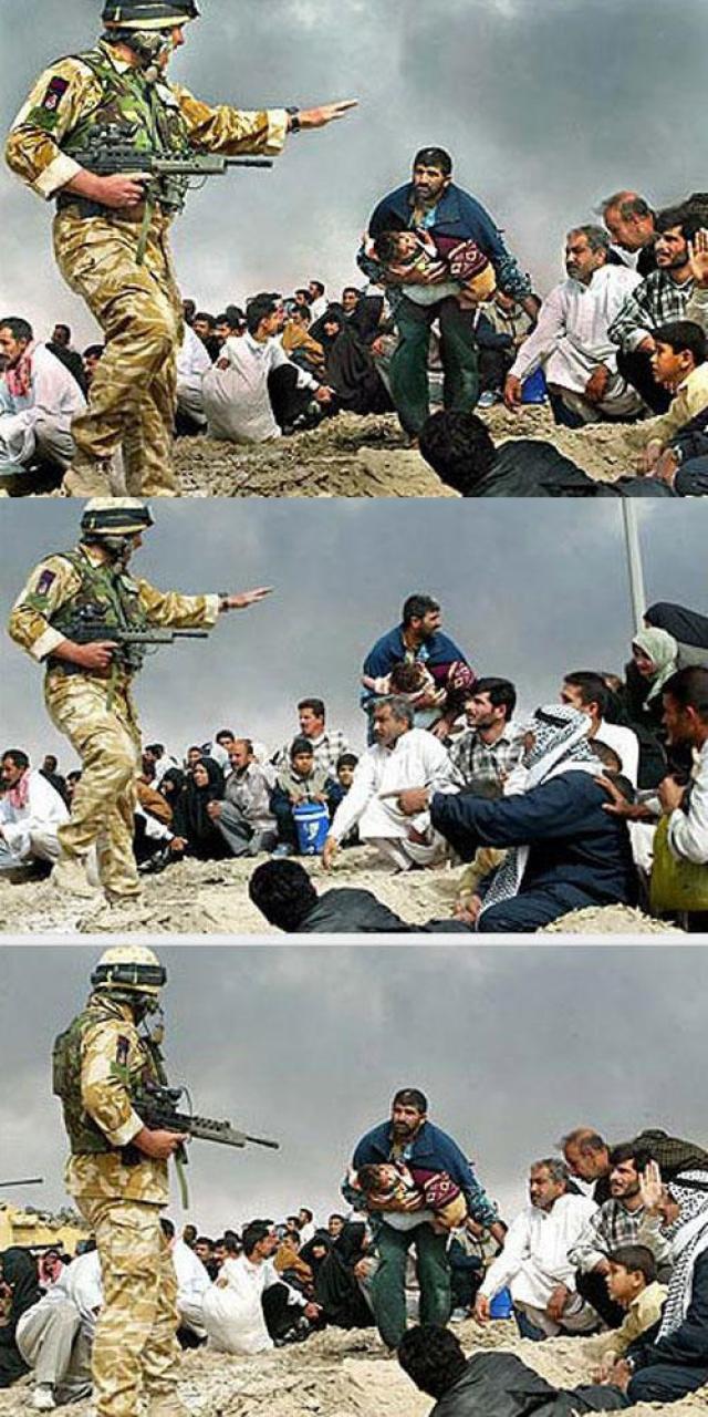 Штатным корреспондент газеты Los Angeles Times Брайан Вольски после серии снимков общения американский военных с иракскими мирными жителями решил совместить две фотографии в одну… Вместе получилось выразительно, но Вольски уволили.