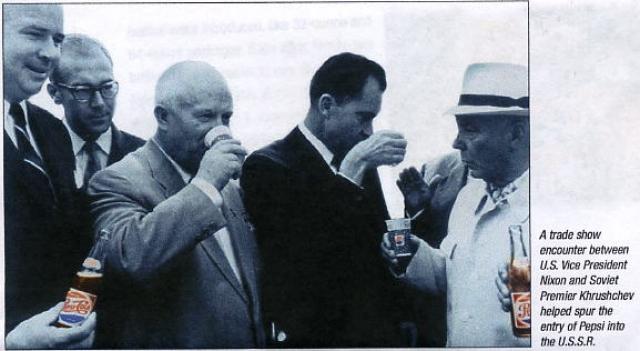 """Позже фотография пьющего американскую газировку Хрущева появилась во многих западных газетах с подписью """"Хрущев хочет быть более общительным"""" (тогда рекламным слоганом компании была фраза: """"Будь общительным, пей Пепси!"""")."""