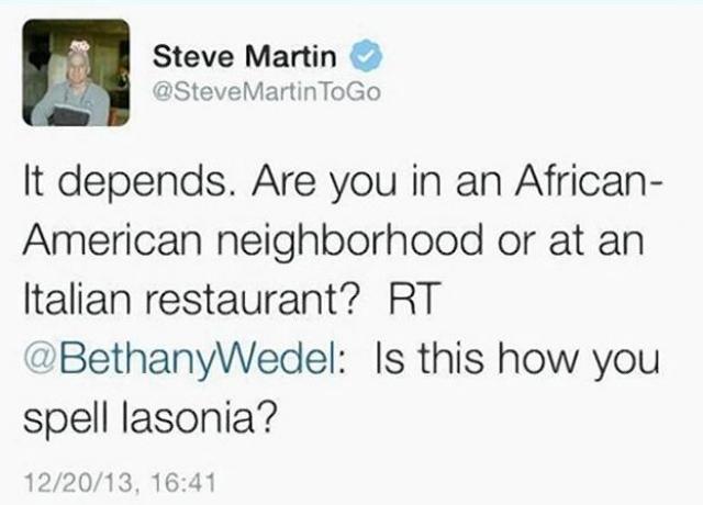 """Кто-то спросил, как произносится слово Lasonia (афроамериканское имя). """"Это зависит от того, где вы находитесь, в черном квартале или в итальянском ресторане,"""" - пошутил Мартин."""