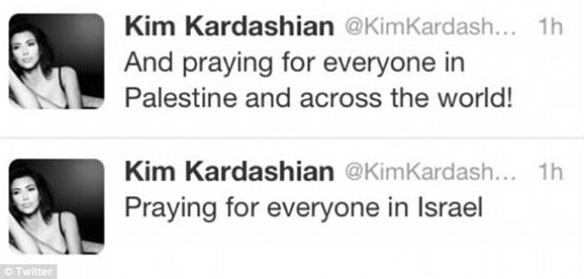"""Кстати, в похожую ситуацию попала и уже упомянутая Ким Кардашьян - в 2012 году она написала: """"Молюсь за всех в Израиле"""". На звезду хлынули упреки и даже угрозы расправы, после чего она добавила, что """"молится за всех в Палестине и по всему миру!"""""""